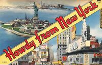 Howdy from New York NYC Multi View Vintage Linen Postcard A05