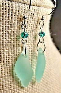 SOFT AUTUMN GREEN Cultured sea glass jewelry WAVE shape earrings Handcrafted