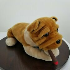 "Bulldog Smoking Cigar 17"" Plush Laying Stuffed Dog Brown"