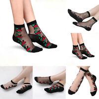 Women Elegant Crystal Lace Glass Rose Fower Silk Short Thin Transparent Socks