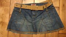 Size 5 Junior nobo No Boundaries Short Denim Blue Jean Skirt  Fancy Belt Fringes