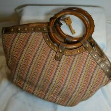 Fossil multi color Woven Satchel Purse Round Wood hob nail design handles nice!