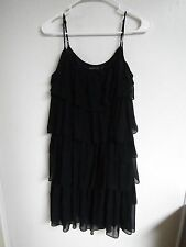 THE LIMITED WOMENS Size SMALL TIERED BLACK dress spaghetti straps SHEER ZIP