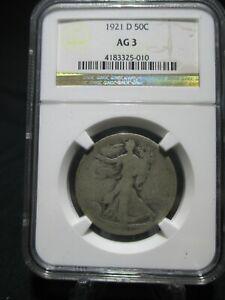 1921-D WALKING LIBERTY Half Dollar NGC Graded AG 3 - RARE KEY DATE SILVER COIN