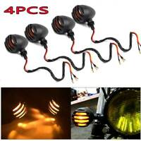 4x Aluminum Motorcycle Indicators Motorbike Bike Turn Signal Lights Bullet Bulb