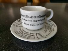 PILLIVUYT  FRANCE GRANDE BRASSERIE NATIONALE DEMITASSE COFFEE CUP SAUCER PARIS