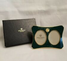 Mikimoto Crystal Lacquer Collection Green Double Picture Frame with Pearl