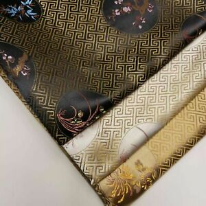 """Oriental Chinese Embroidery Brocade Poly Silk Satin Oriental Floral Fabric 45"""""""