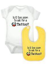 Tattoo Babygrow And Bib Set - Funny Newborn Gift Baby BodySuit