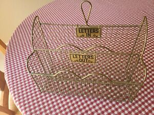 Vintage Gold Tone Metal Wire Letters In/Out Wall Mounted Basket