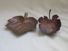 2 Copper Tone Metal Leaf Shaped Candle Holders Longaberger & White Barn