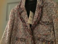 ZARA BLAZER TWEED FRAYED MULTICOLOR BOUCLE GOLD BUTTONS COAT JACKET L RARE