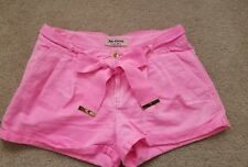 Juicy Couture Neon pink 4 pocket  Ribbon belt Pleated washed booty shorts sz 4