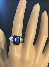 Lab-Created Ceylon Emerald Cut Sapphire Ring in Sterling Silver