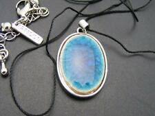 """$14 Freedom at Topshop Blue Oval Pendant Necklace 40"""" Long Black Cord/String"""