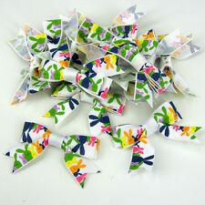 """5.5 cm (2 """") ruban arcs x 10 pcs Pâques Bertie's bow lapins sur blanc"""
