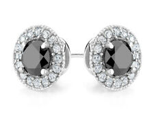 Black Diamond and White Topaz Halo Stud Earrings 1.5 ctw in Silver