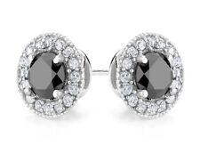 Diamante Negro Y HALO STUD pendientes de Topacio Blanco 1.5 Ctw En Plata