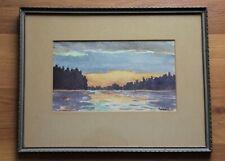 "Vintage Framed Northern Lake Sunset Landscape Watercolour Signed ""A. Hone"""