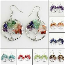 Natural Gemstones Chip Beads Tree of Life Reiki Chakra Healing Silver Earrings