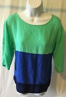 Old Navy Brand Women's Blouse Size XS 3/4 Sleeve Blue & Green color Scoop Neck