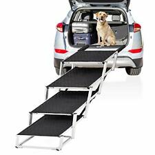 Extra Wide Dog Car Stair, 4-Step Folding Lightweight Aluminum Pet Ramp, 19.2�