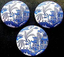 3 Czech Glass Buttons #G288 - XXLarge - BLUE WILLOW - RARE MOTIF