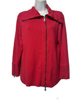 CAbi #285 Women's Red Long Sleeve Zip-Up Collared Sweater Size M