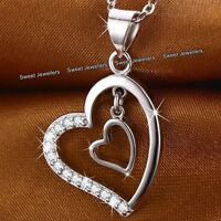 925 Silver & Crystal Diamond Hearts Necklace - Xmas Gift For Her Wife Love Women