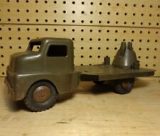 STRUCTO TOYS Vintage Steel Army Green Missile Launcher Truck 1950's