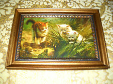 3 KITTENS PEER AT FROG 4 X 6 gold framed animal picture Victorian style print