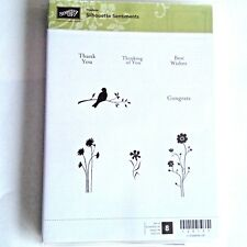 Stampin Up Silhouettes Sentiments  Flowers Bird on Branch   Stems Hostess Rubber