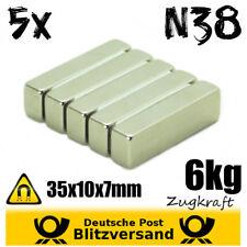 5x Neodym Magnet Quader 35x10x7mm 6kg Zugkraft - starke Magnete Magneten