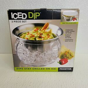 Iced Dip 3 Piece Stainless Steel 22oz. Serving Bowl Prodyne, snap on lid
