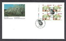 Canada FDC - 1991 - Fruit Tree Defin. McIntosh Apple, Scott #1363, Plate Block