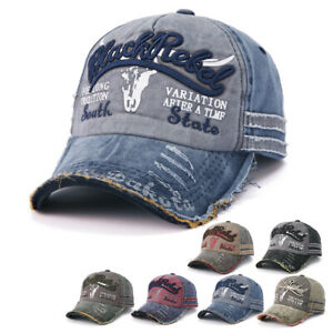 Unisex Men Women Vintage Baseball Cap Distressed Graffiti Denim Trucker Hat