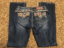 MISS ME WOMENS JEANS BOOTCUT AZTEC RED ACCENTS NO FLAP POCKETS RELAXED SIZE 28