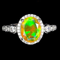 Unheated Oval Fire Opal Hot Rainbow Luster 10x8mm Cz 925 Sterling Silver Ring