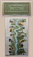 Suder Führer-Panorama vom Rhein Mainz-Köln um 1900 farbige Karte Rheinlauf xy