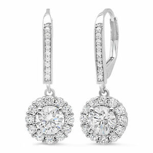 10K WHITE GOLD 3.50 ct ROUND CUT Solitaire Halo DROP DANGLE LEVERBACK EARRINGS