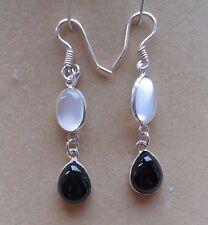 Hallmarked Sterling Silver Sri Lankan Moonstone Onyx Drop Earrings (E19/2) (NEW)