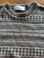 Bill Blass Mens Small Crewneck Sweater, Muted tan/green pattern Cotton Blend USA