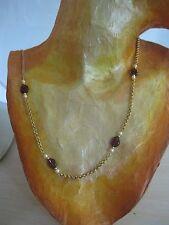 """Estate Costume Avon White Pearl and Purple Stone Necklace Gold Tone 36"""""""