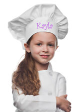 White Personalized Kids Chef Hat made from High Quality Cotton/Twill Fabric