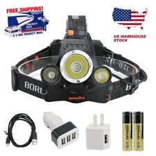 BORUiT 15000 Lumen Headlamp XM-L 3x T6 LED Headlight 18650 Battery Light Charger