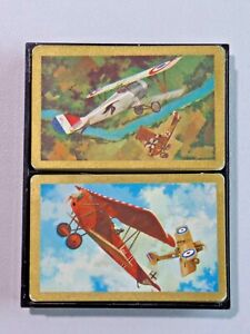 Vintage Playing Cards in Plastic Case WWI Era Airplanes Advertising NECA