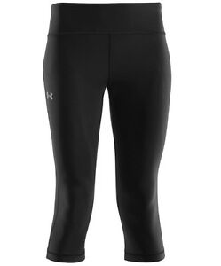 "under armour ua womens authentic 17"" capris compression fit yoga black size xl"