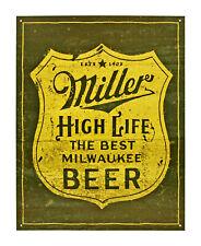 """Miller High Life Beer 12.5"""" x 16"""" Tin Sign - T2306"""