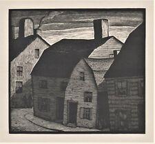 Thomas Nason,original wood engraving,Sunday in Marblehead,1931,signed in block,