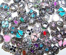 10 Pc European Bead Charm Bracelet Lot Rhinestone Silver Spacers Enamel